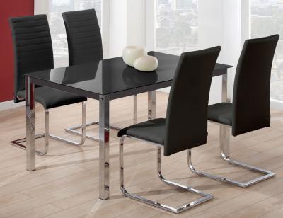 Mesa comedor cromada cristal negro 289