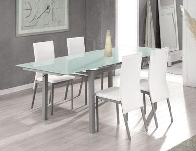 Mesa comedor extensible cristal templado 207 blanco 308