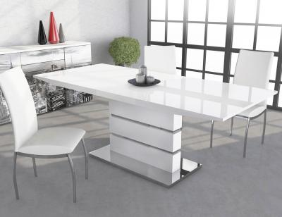 Mesa comedor extensible en dm blanco brillo 286