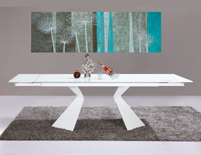 Mesa comedor lacada blanca alto brillo extensible 31