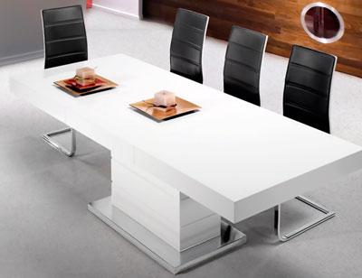 Mesa comedor lacada blanca alto brillo extensible acero