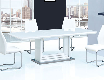 Mesa comedor lacada blanca alto brillo extensible
