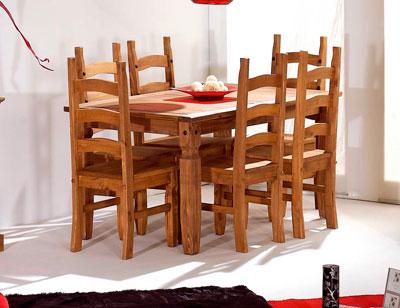 Mesa comedor madera rustico 6 personas 152 cm