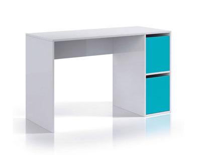 Mesa de escritorio ordenador blanco brillo azul