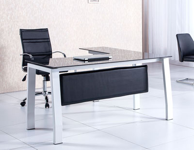 Silla oficina o despacho con apoya brazos y regulable en for Mesa cristal oficina