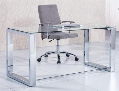 Mesa comedor cristal templado con patas cromadas 2352 for Mesa cristal oficina