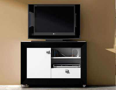 Mesa tv blanco negro 36