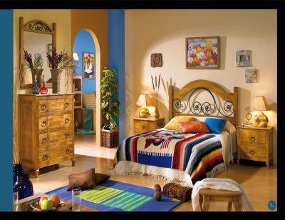 Mueble dormitorio matrimonio comoda cabecero forja rustico contemporaneo1