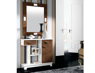 Mueble recibidor con espejo blanco wengue 66