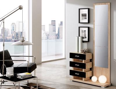Mueble recibidor con espejo cambrian blanco 89