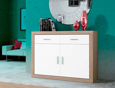 Mueble salon aparador 2 puertas cambrian blanco 120 cm