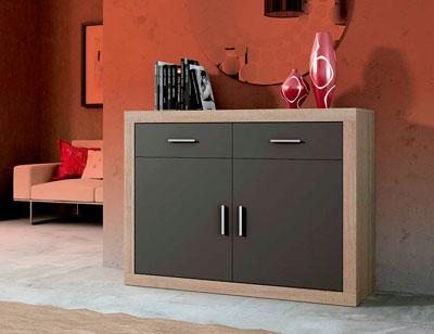 Mueble salon aparador 2 puertas cambrian grafito 120 cm