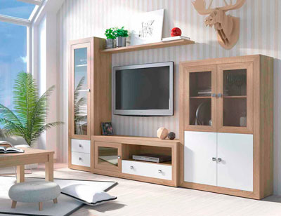 Mueble salon colonial cambrian blanco 04