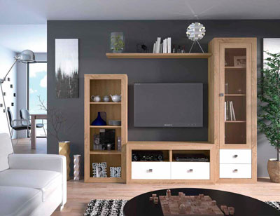 Mueble salon colonial cambrian blanco 16