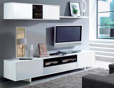 Mueble salon comedor blanco brillo 3