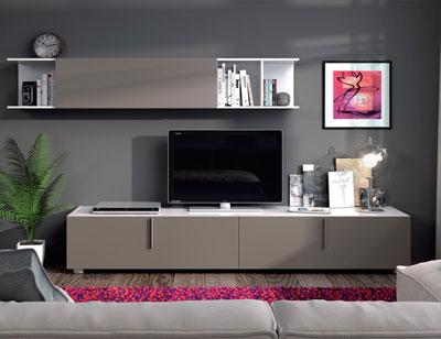 Mueble salon comedor blanco brillo basalto