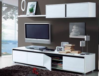 Mueble salon comedor blanco brillo