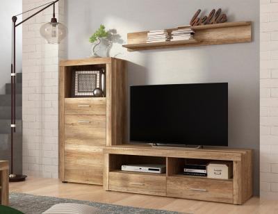 Mueble salon comedor bodeguero estante bajo tv color cañon 201cm