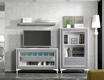Mueble salon comedor con patas isabelinas blanco plata