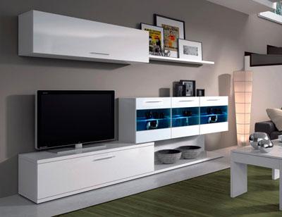 Mueble salon comedor luces leds blanco brillo