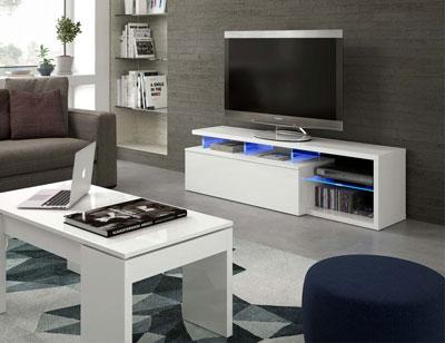 Mueble salon comedor luces leds blanco