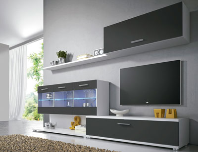 Mueble salon comedor luces leds moderno vitrina blanco grafito