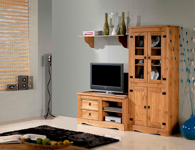 Mueble salon comedor madera rustico nogal claro vitrina cristal 195 cm