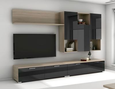 Mueble salon comedor modeno negro brillo1