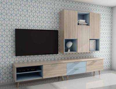 Mueble salon comedor moderno roble celeste