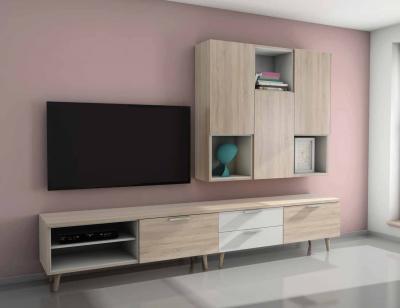 Mueble salon comedor moderno roble piedra