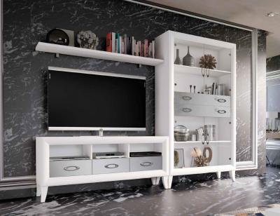 Mueble salon comedor romantico blanco plata 16