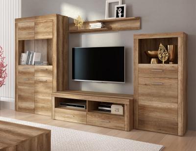 Mueble salon comedor vitrina estante bajo tv bodeguero color cañon 301cm