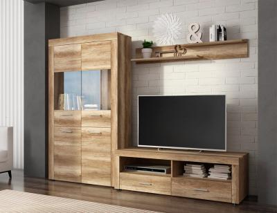 Mueble salon comedor vitrina estante bajo tv color cañon 235cm