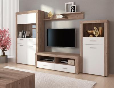 Mueble salon comedor vitrina luces leds estante bajo tv bodeguero color cañon 301cm