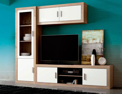 Mueble salon madera vitrina tv vitrina cristal cambrian blanco