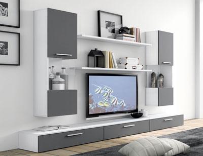 Mueble salon moderno blanco grafito 411