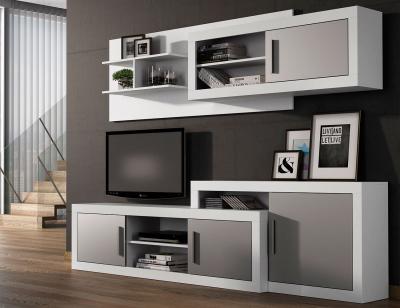 Mueble salon moderno blanco plata