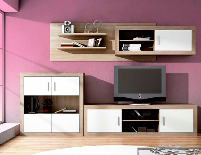 Mueble salon moderno bodeguero cambrian blanco