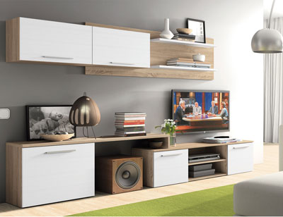 Mueble salon moderno cambrian blanco 405