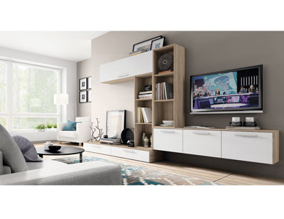 Mueble salon moderno cambrian blanco 412