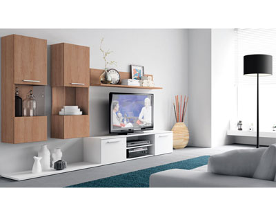 Mueble salon moderno nogal blanco 413