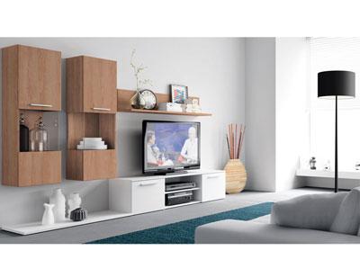 Mueble de sal n comedor moderno en cambrian con blanco for Mueble salon blanco y nogal