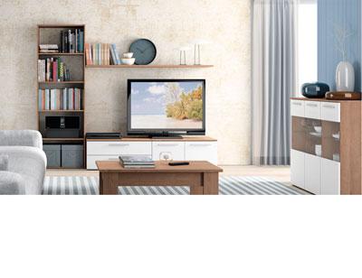 Mueble salon moderno nogal blanco 422