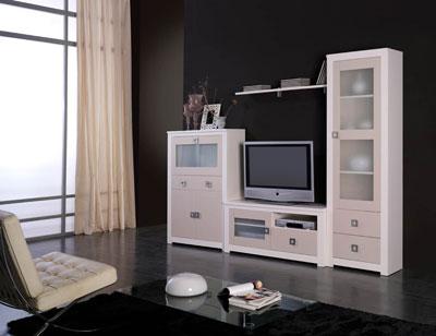 Mueble salon modular lacado blanco piedra madera dm2