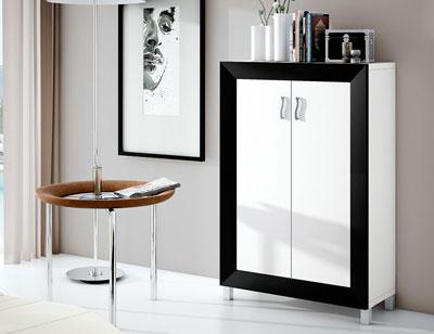 Mueble zapatero dos puertas blanco negro 25