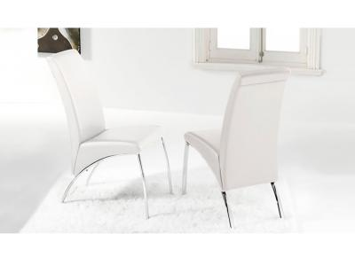 Silla comedor polipiel blanco patas cromadas