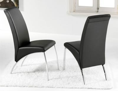 Silla comedor polipiel negro patas cromadas1
