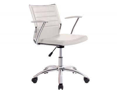 Silla oficina despacho regulable altura apoya brazos polipiel blanco ruedas