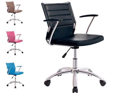 Silla oficina despacho regulable altura apoya brazos polipiel negro ruedas 2
