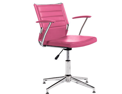 Silla oficina despacho regulable altura apoya brazos polipiel rosa